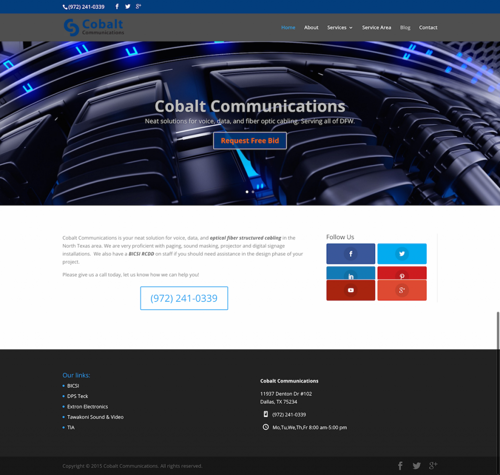 Cobalt Communications Structured Cabling Website